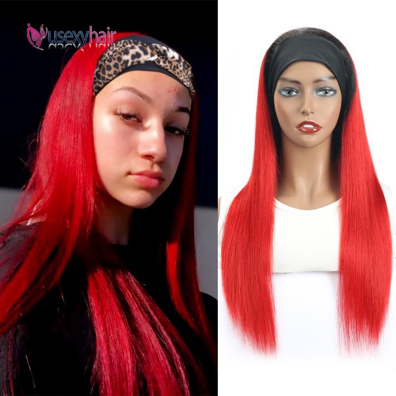 Headband Human Hair Wigs Straight Remy Human Hair Scarf Headband Wig Full Machine Made Brazilian Women Straight Hair Scarf Wigs
