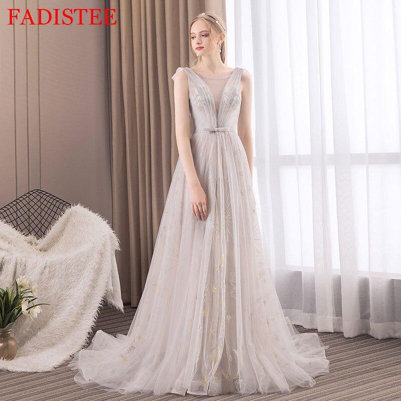 New Style Lace Evening Dresses вечерние платья Vestido De Festa Prom Dress Robe De Soiree Sweep Train