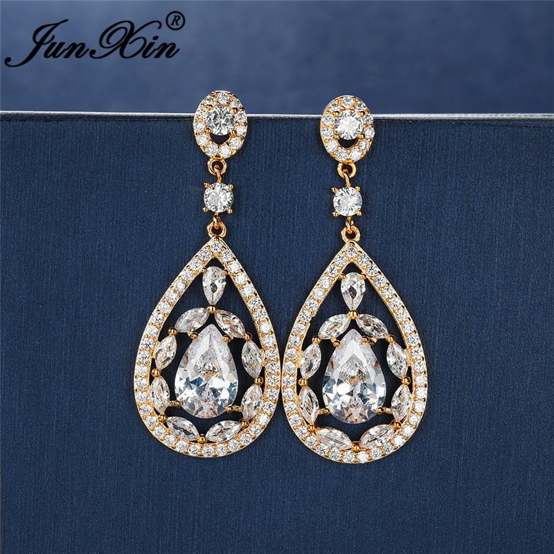Bohemian Full Crystal Water Drop Dangle Earrings For Women Luxury White Zircon White Gold Rose Gold Wedding Earrings Jewelry Cz