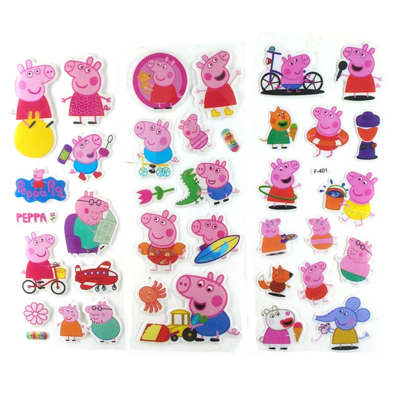 Original Peppa Pig Groge Family 3D Bubble Stickers Cartoon Toy Pig Sticker Toy Action Child Toy Birthday Christmas Gift