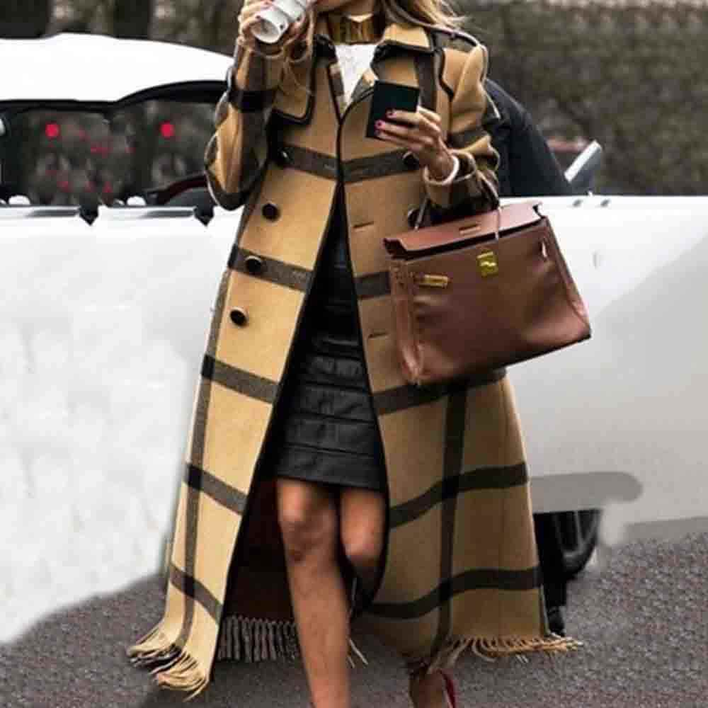 Fall Winter Women's Retro Wool blend Overcoat British Yellow Graphics Long Trench Coat Plus Size Office Ladies Overcoats 2019