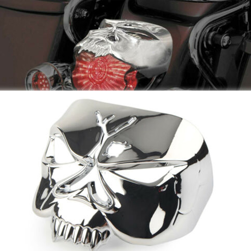 Tail Light Guard Motorcycle parts Skull Zombie Headlight Rear Tail Lamp Signal Light Cool Cover For Harley 1973-2017 9024 9009