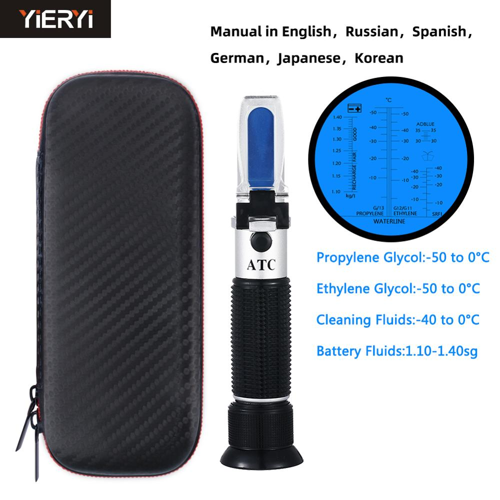 Yieryi Urea Concentration Refractometer Engine Fluid Glycol Antifreeze Freezing Point Car Battery Refractometer 4 IN 1 Function