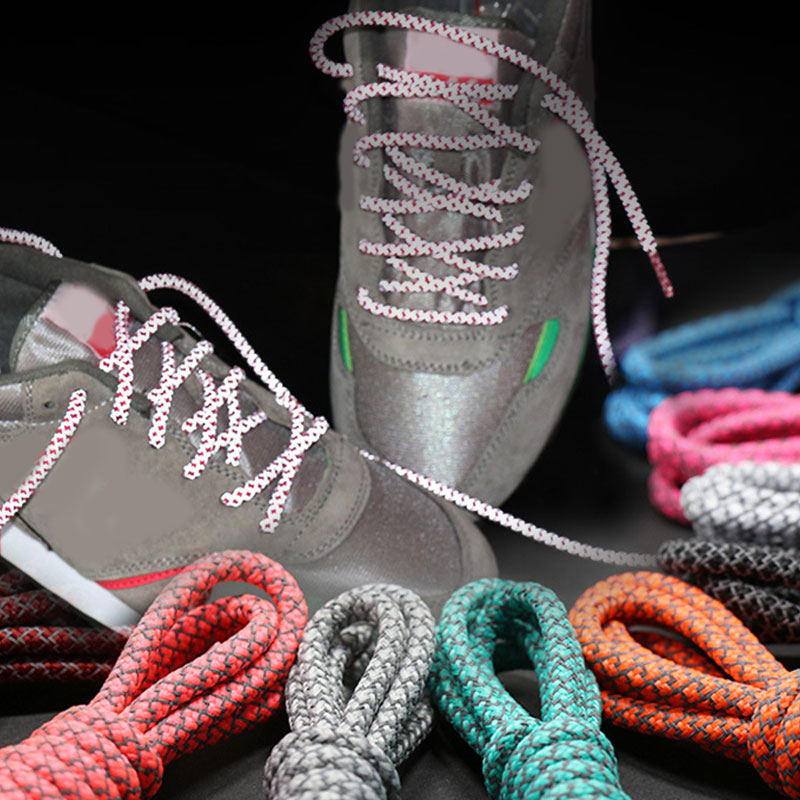Cool Highlight 3M Round Reflective Shoe Laces Athletic Safety Sneakers Shoelaces Night Walk Running Bootlace Latchet