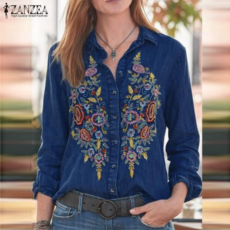 ZANZEA Women Vintage Embroidered Denim Blue Shirts Casual Lapel Neck Floral Blouse Long Sleeve Top Autumn Work Blusas Plus Size