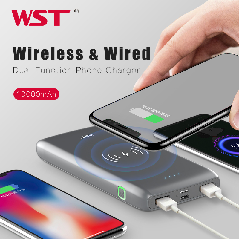 WST 10000mAh Wireless Charger Power Bank Qi Quick Charge Smart Powerbank Ultra Slim Type C Portable Wireless Battery Charger