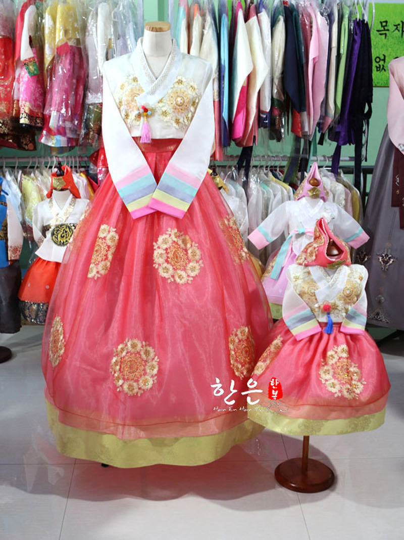 South Korea Imported High-end Fabric / Latest Suit / Korean National Costume Mother And Daughter Suit