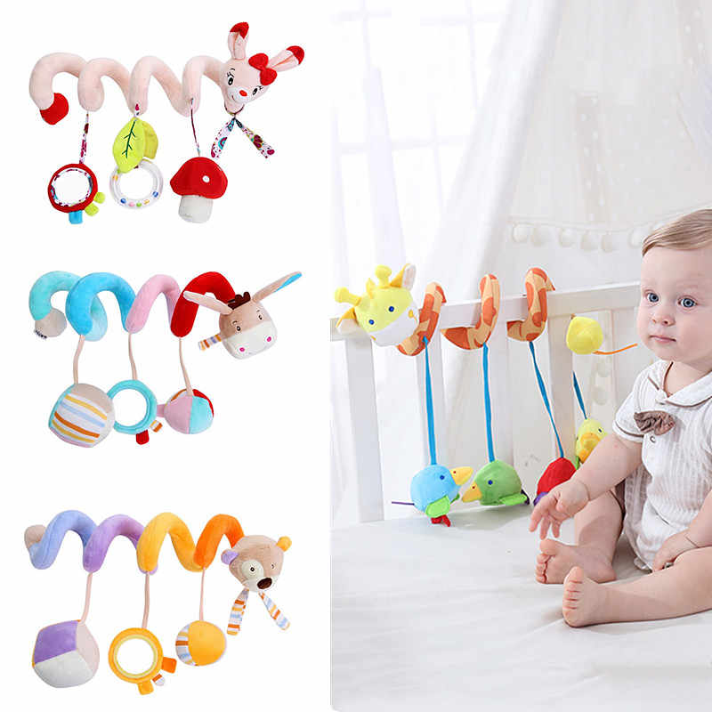 baby&Toddler toy Rattles Stroller Toy Cute Animal Bed winding Baby Toys Musical Stroller Plush stuff Doll Soft Crib Handing Bell