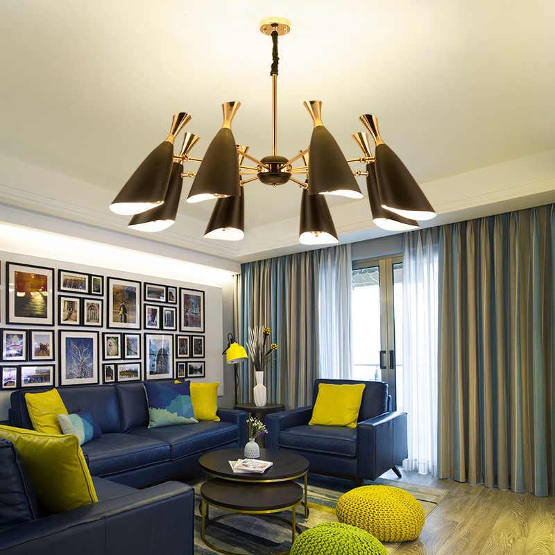 北欧傾斜口ホーンシャンデリアポストモダン高級ゴールドハンギングランプリビングルームベッドルームダイニングルームの照明器具
