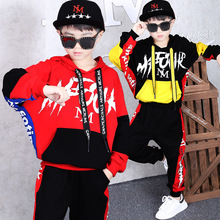 2019 Autumn New Fashion Boys Suit Childrens Hip-hop Clothing Kids Cotton Spell Color Hooded Long Sleeve Sweater+Pants 2pcs Set
