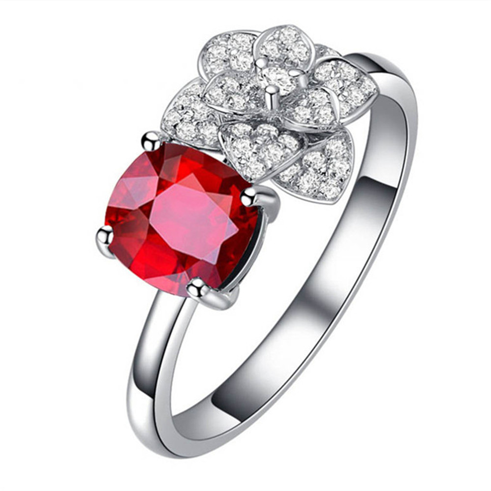 hot sale wedding engagement jewellery 0.5ct red ruby natural gemstone ring with diamond 18k gold women ring 2