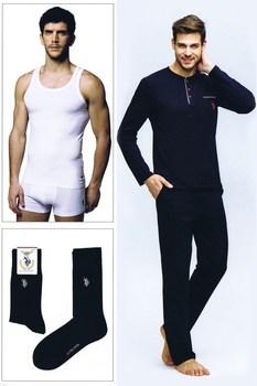 цена US Polo Assn Male Cotton Evde Casual Pajamas Set 4lü + Undershirt + Boxer Shorts + Socks Set 17384 онлайн в 2017 году