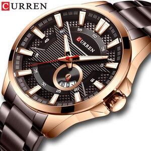 Image 1 - חדש נירוסטה קוורץ גברים של שעונים אופנה CURREN שעון יד סיבתי עסקי שעון למעלה מותג יוקרה גברים שעון זכר שעון