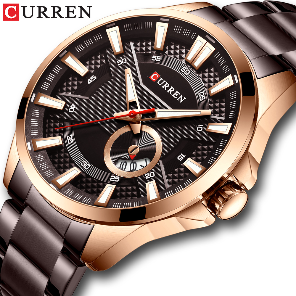 New Stainless Steel Quartz Men's Watches Fashion CURREN Wrist Watch Causal Business Watch Top Luxury Brand Men Watch Male Clock