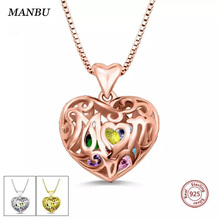 купить Custom 925 sterling silver fashion jewelry heart cage with birthstone necklace Personalized pendant necklace for women gift Hot по цене 2022.84 рублей