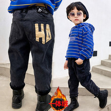 New 2021 Baby Boys Warm Pants Winter Boys Denim Jeans Plus Velvet Chidlren Clothing Letter Print Straight Trousers Boys Clothes cheap vigarelyan Cotton Polyester CN(Origin) Unisex Pockets Full Length Fits true to size take your normal size Elastic Waist
