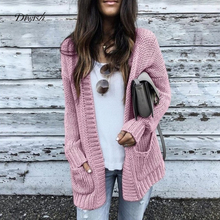 Diwish Women Winter Sweater Cardigans Coat with Pocket Loose Long Sleeve Solid Color Cover Up Casual Style Knitted 2019
