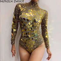 Sexy Stage Bright Gold Rhinestones Mirrors Bodysuit Women's Birthday Celebrate Outfit DS Bar Singer Dancer Show Stretch Bodysuit