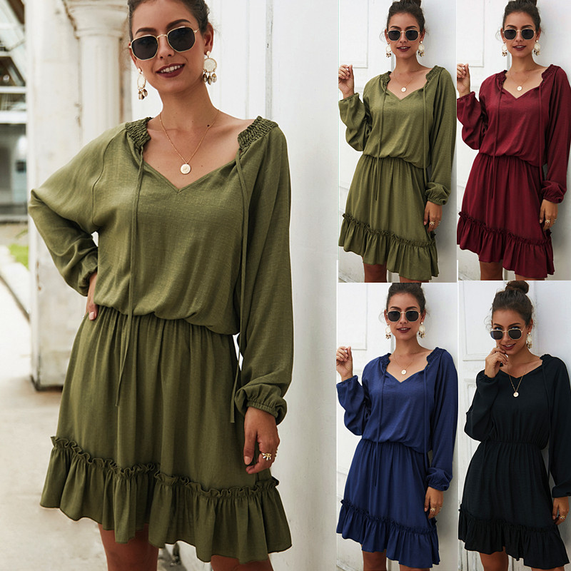 Women Pure color Midi Dress 2019 Autumn Winter New Female Casual Long Sleeve V neck Ruffles Lace Up Loose Beach Dress Vestidos in Dresses from Women 39 s Clothing