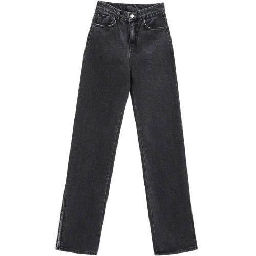 2019 Autumn Fashion Women High Waist Denim Jeans Straight Jeans Side Split Jeans Vintage Female Long Capri Pants 10
