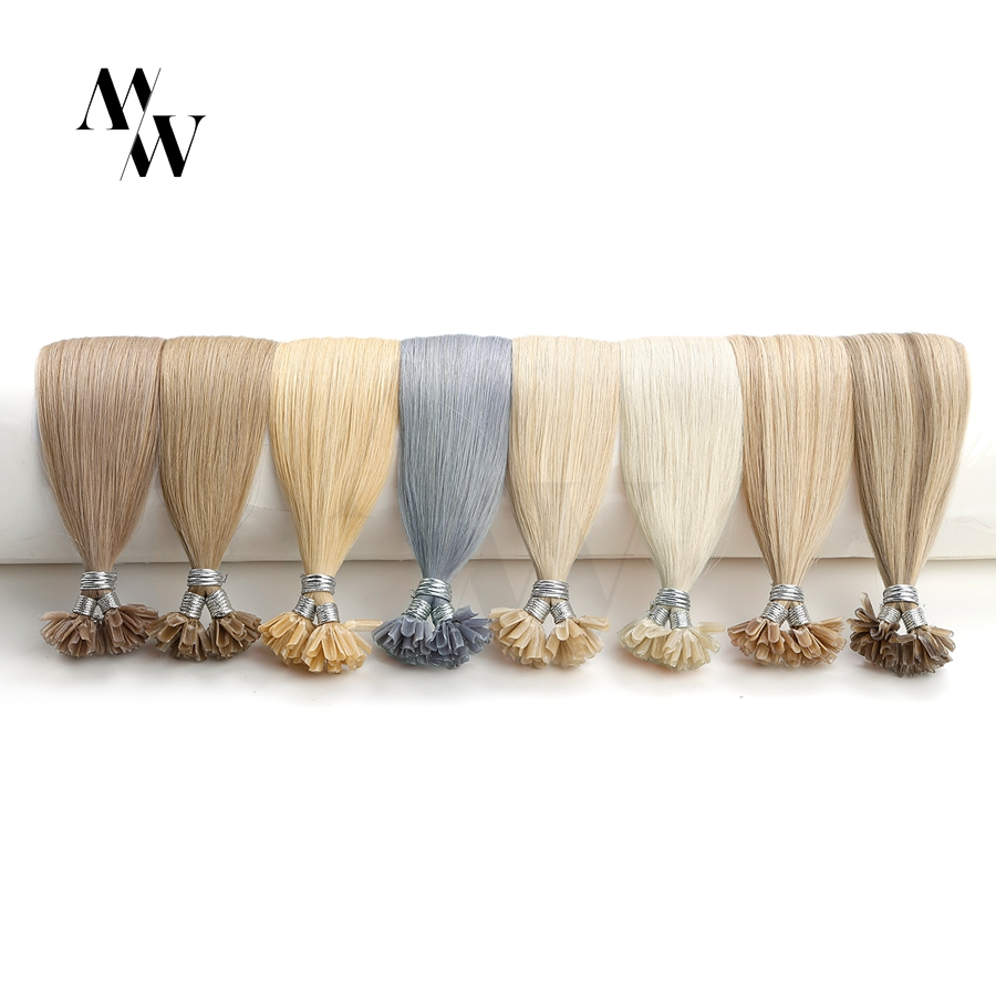 MW Remy Keratin U Tip Fusion Human Hair Extensions 24 Inches 60cm 1.0g/s Natural Straight Pre Bonded Capsules Fusion Blonde Hair
