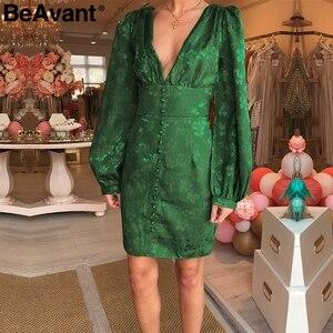 Image 2 - BeAvant סקסי v צוואר קצר המפלגה שמלת ירוק סרט אלגנטי שמלת פנס שרוול יחיד חזה אונליין מיני שמלת הקיץ