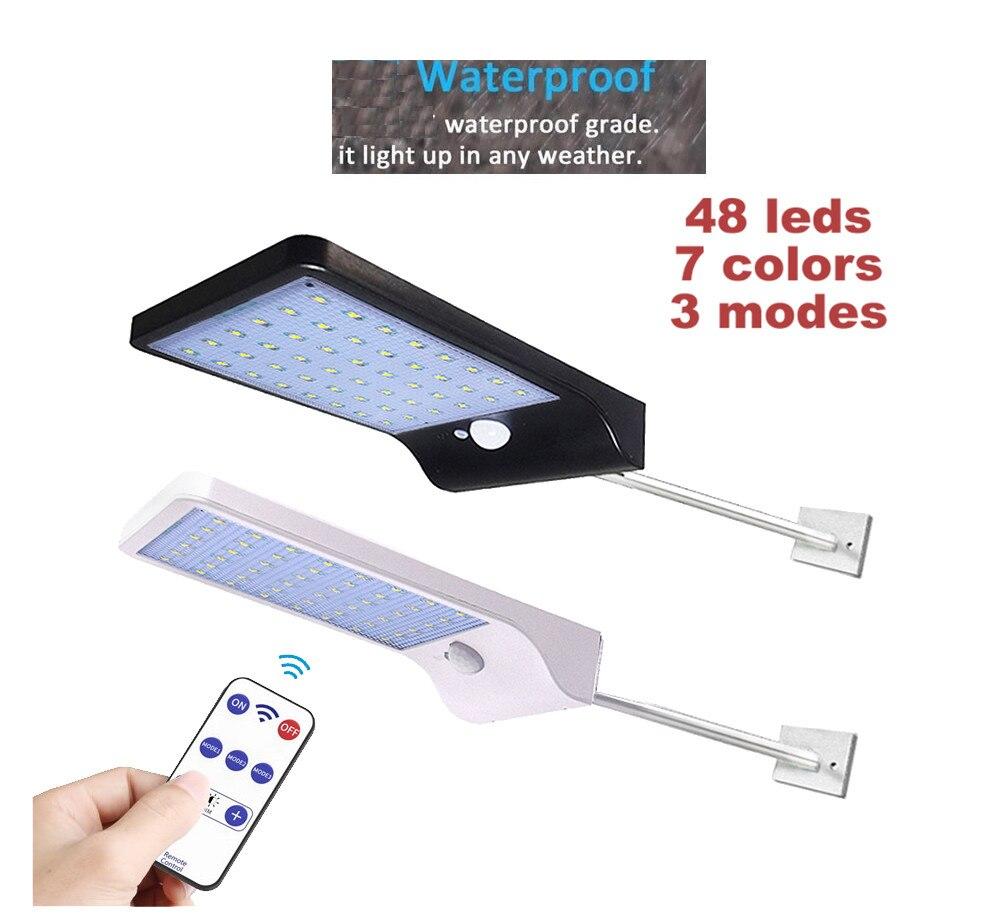 Remote 48/36 Led Solar Light Garden Wall Street Lamp PIR Sensor Motion 3 Mode Emergency Security Lights Spot Floodlights