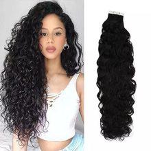 Vesunny fita em extensões de cabelo preto mulher natural ondulado máquina feita remy brasileiro real cabelo humano 2.5 g/pçs