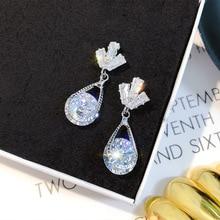 shine rhinestone geometric drop earrings for women bijoux  water drop dangle earring wedding jewelry gift цена и фото