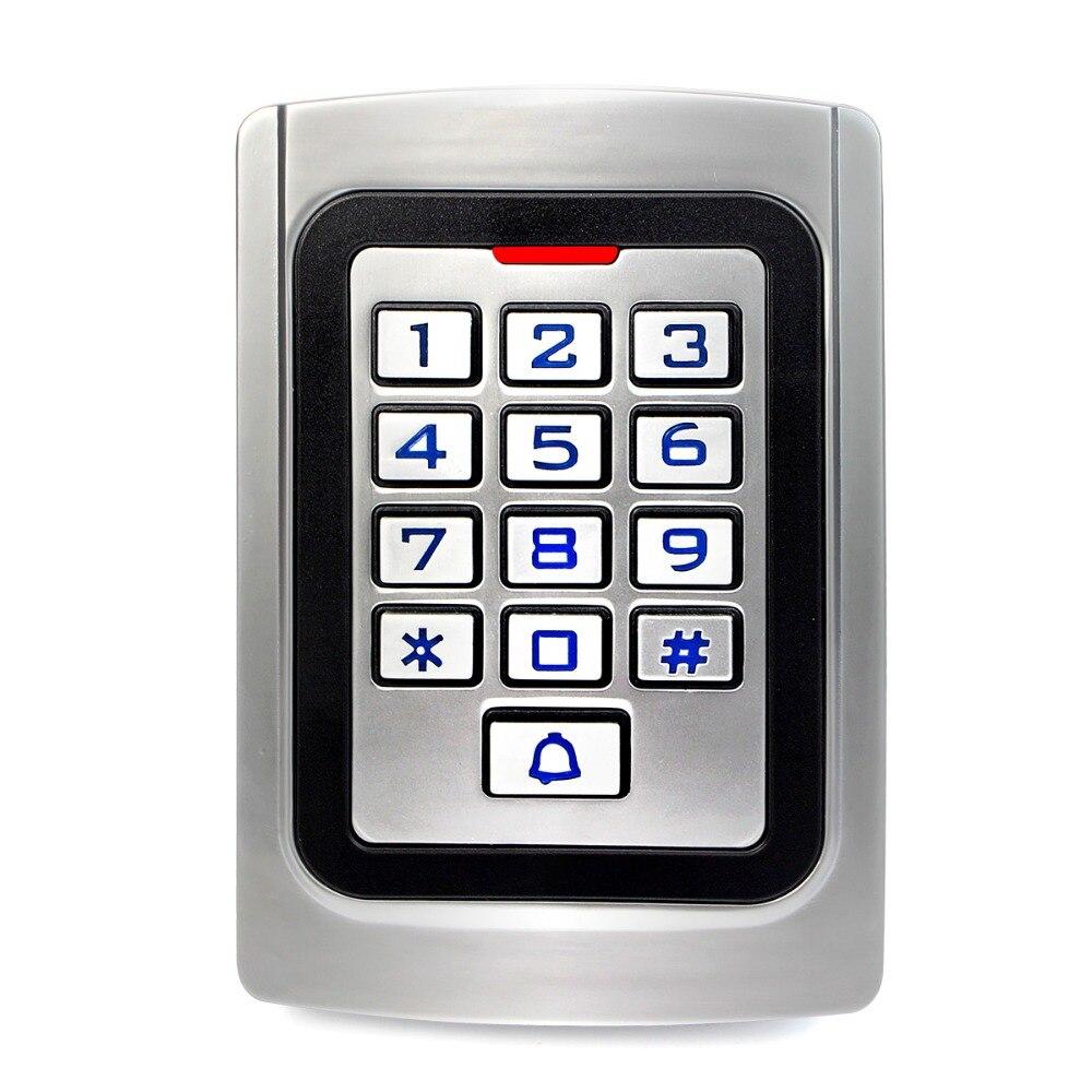 Teclado de controle acesso ip68 à prova dip68 água caixa metal silicone segurança entrada porta leitor rfid 125 khz em cartão autônomo f1322d