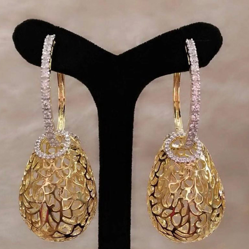 Luxury Round Cubic Zirconia Hoop Earrings For Women Wedding Party Gold Color Hoops Earring Fashion Jewelry Gift