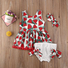 Tracksuit For Girls 2020 Kids Clothes Baby Watermelon Print Dress+Solid Bowknot Pants Toddler Outfits Set roupas infantis menina(China)