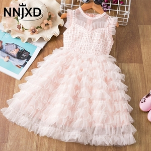 2020 Brand Lace Layered Dress for Girls Mesh Princess Birthday Party Dresses Elegant Prom Gown 3-8Y Kids Children's Clothing