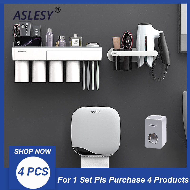 Toothpaste Dispenser Toothbrush Holder Wall Mount  Storage Box Rack Stand White