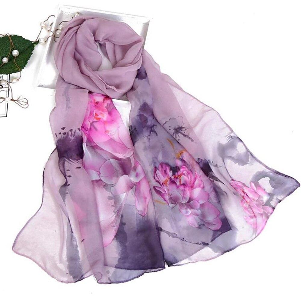 Autumn Femme Silk Scarves Silk Scarf Women Floral Lotus Printing Long Soft Wrap Scarf Ladies Shawl Woman 2019 #YL5