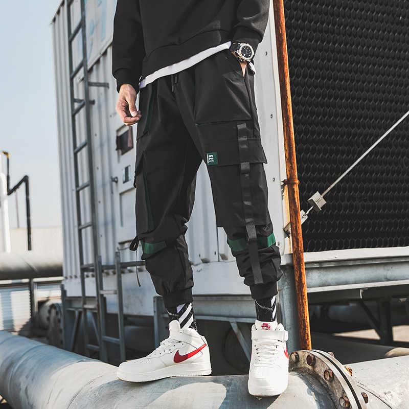 Streetwear 남성용 멀티 포켓 카고 하렘 바지 힙합 캐주얼 남성 트랙 바지 조깅 바지 패션 하라주쿠 남성 바지