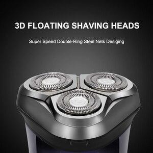 Image 3 - 電気シェーバーかみそりメンズ洗えるusb充電式 3Dスマート制御シェービングあごひげ機防水ロック保護