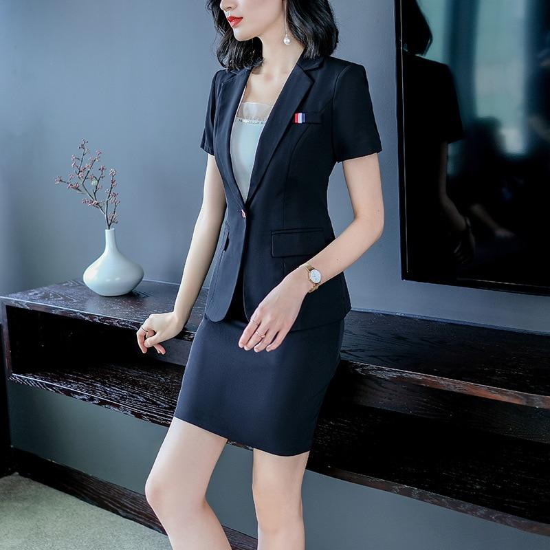 Women's Elegant Formal Business OL Spring Summer Short Sleeve Slim Blazer And Skirt Suit Office Ladies Work Wear Blazers Jacket
