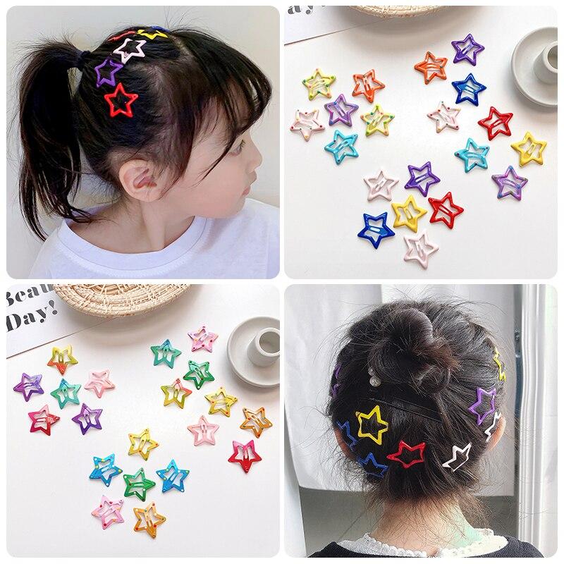 2/10/20 Pcs/Set Baby Children Cute Colors Star Ornament Hair Clips Women Girls Sweet Barrettes Hairpins Kids Hair Accessories