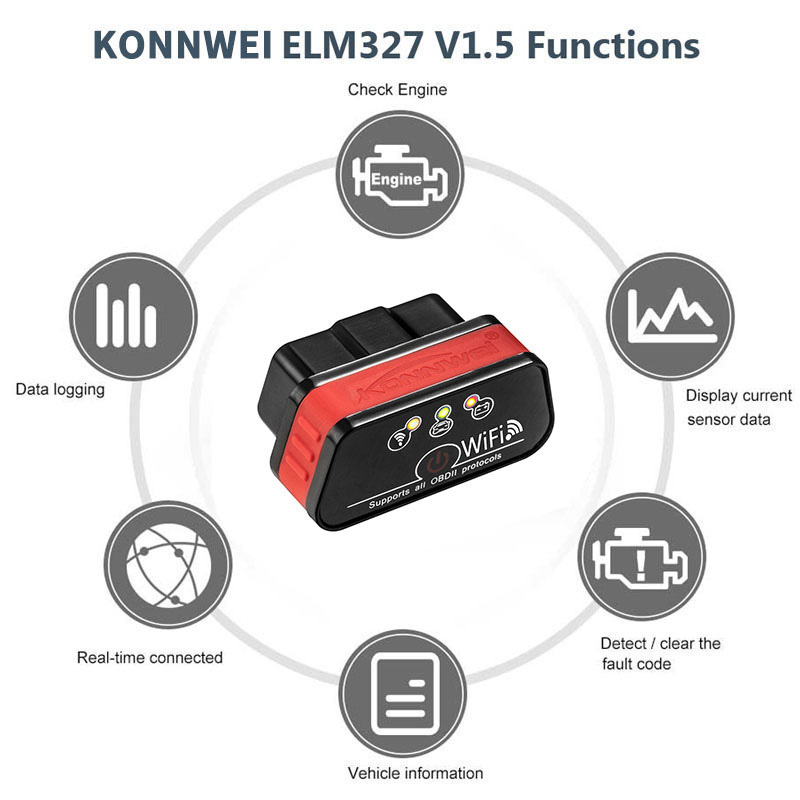 Konnwei KW901 OBD2 WiFi ELM327 Diagnose werkzeug Code OBD2 Scanner Reader elm327 v 1,5 auto diagnose auto für Android IOS konnwei