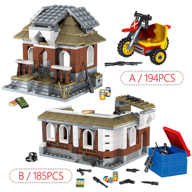 379pcs 2 IN 1 Jedi Survival Building Blocks PUBG City Police Military WW2 Soldier Weapon Bricks Toys for Kids Boys Gift