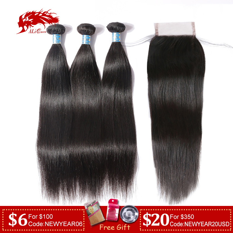 Ali Queen Hair Peruvian Virgin Straight Hair 3/4 Bundles With Closure Free Part Pre-Plucked Lace Closure Frontal Natural Color