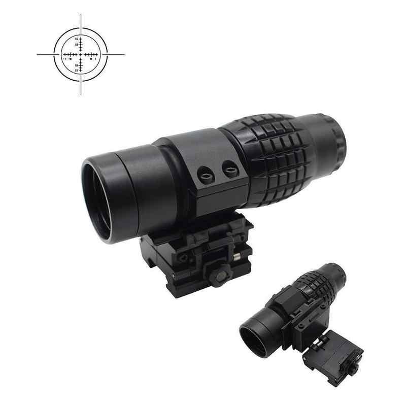 Plástico Airsoft Tactical 3x lupa para mirilla de rifle lupa con soporte abatible hacia arriba Picatinny lateral para accesorios para pistola de juguete