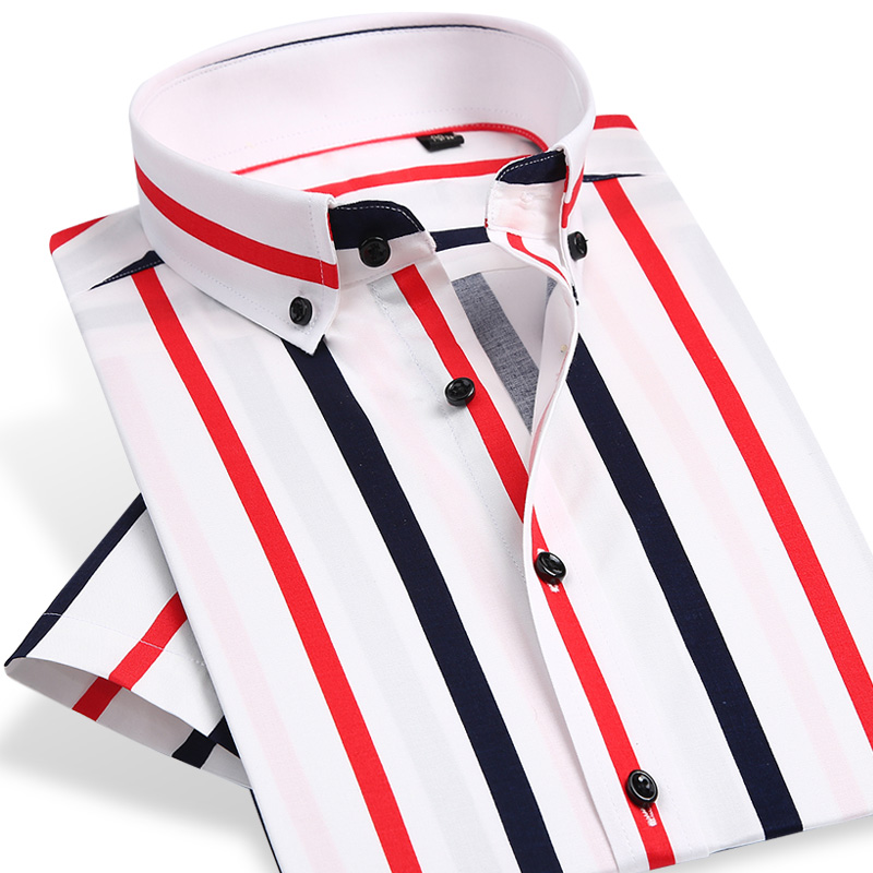 <font><b>Men's</b></font> Fashion Color <font><b>Striped</b></font> <font><b>Short</b></font> <font><b>Sleeve</b></font> Dress <font><b>Shirts</b></font> Standard-fit Male Clothes High-quality Button-down Casual Thin <font><b>Shirt</b></font> image