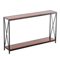 Triamine Board Cross Iron Frame Porch Table Sofa Side Table Reddish Brown Wood Grain Side table Console table