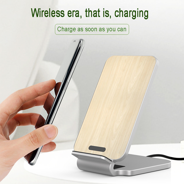 Lantro JS Qi Wireless Charger Stand Wood Fast Charger for iPhone Xs Max and Smartphone with 1M Type C Cable without Adapter