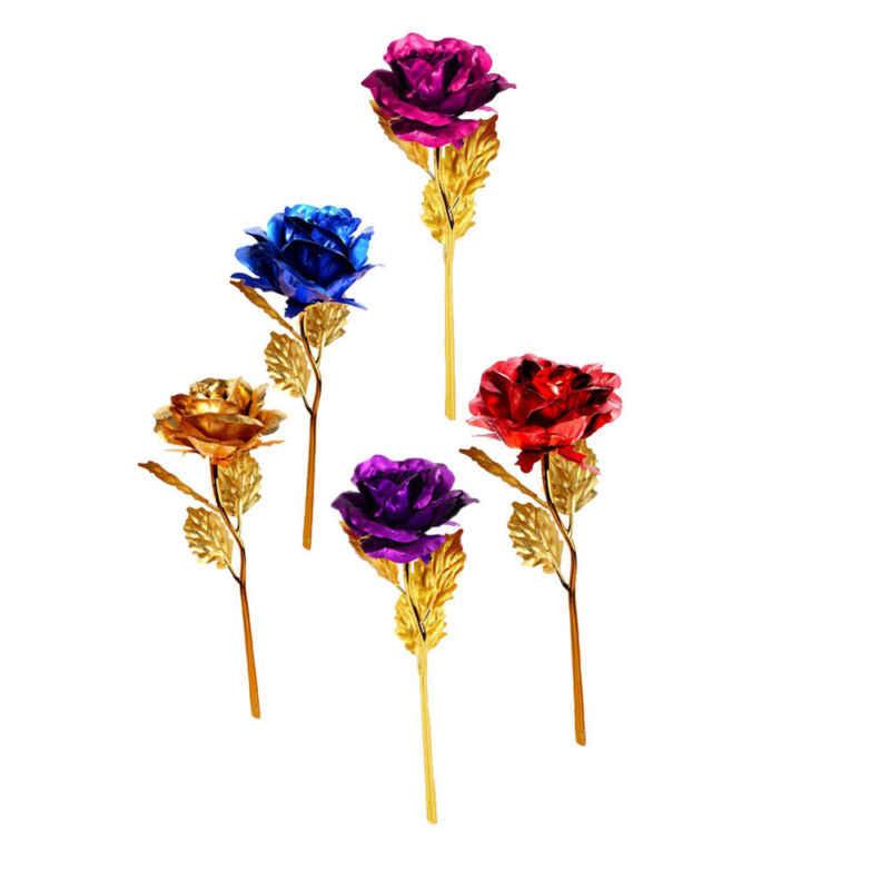 Nuovo 24K Oro Placcato Oro Del Fiore Della Rosa di San Valentino di Nozze Regali di Compleanno