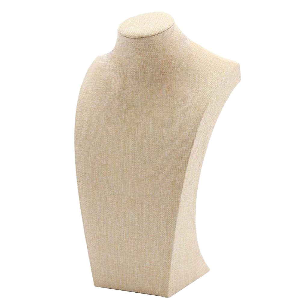 2Pcs Necklace Display Bust Mannequin Jewelry Display Stand Holder, Beige Linen - 115*200mm&175*290mm