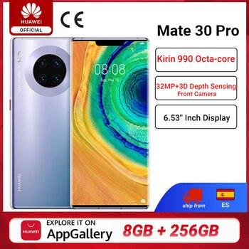 Перейти на Алиэкспресс и купить Глобальная версия HUAWEI Mate 30 Pro мобильных телефонов Kirin 990 8G 256G 6,53 дюймов 40MP тройной камеры 4500mAh смартфон 40 Вт SuperCharge