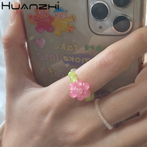 HUANZHI Adorable Summer Colorful Transparent Acrylic Crystal Beads Butterfly Flower Handmade Rings for Women Vacation Jewelry(China)